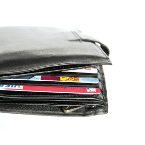 Money and cards in wallet